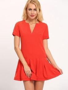 Orange Drop Waist Flounce Dress