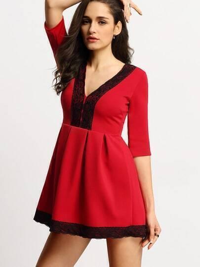 Red Deep V-neck Lace Embellished Flare Dress
