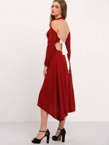 Burgundy Long Sleeve Backless Lace Up Asymmetric Dress