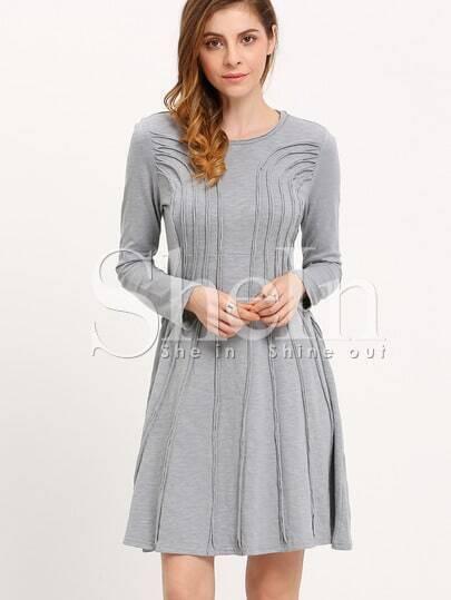 Grey Crew Neck Pleated Dress