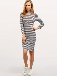 Grey Striped Crew Neck Knee Length Dress