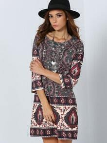 Multicolor Round Neck Vintage Print Dress