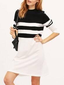 White Black Long Sleeve Color Block Dress