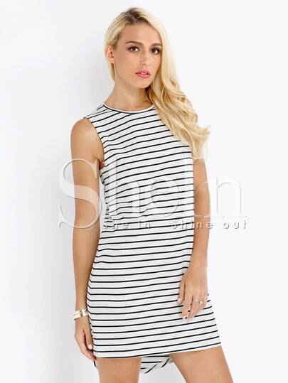 White Sleeveless High Low Striped Dress