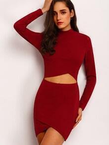 Burgundy Long Sleeve Cut Out Bodycon Dress