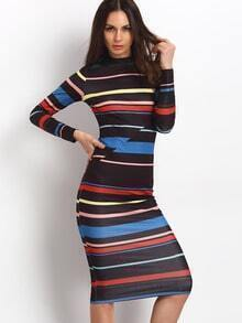 Striped Mock Neck Midi Dress