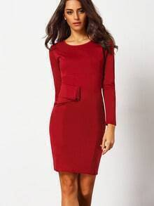 Oxblood Maroon Buisness Long Sleeve Raw Peplum Waist Slim Dress