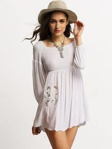White Off The Shoulder Lace Embroidered Dress