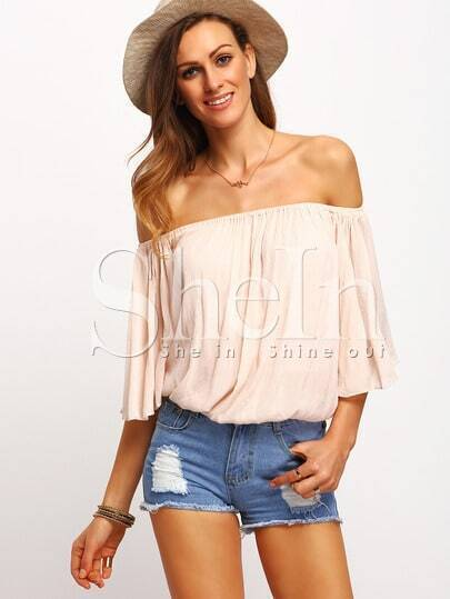 Apricot Off The Shoulder Blouse