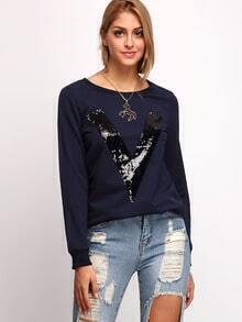 Navy Crew Neck V Sequined Sweatshirt