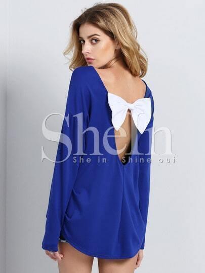 Blue Long Sleeve Unique Contrast Bow T-shirt