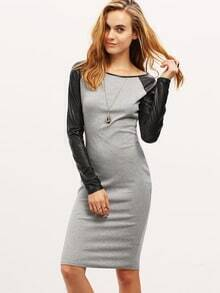 Grey Contrast Raglan Sleeve Sheath Dress