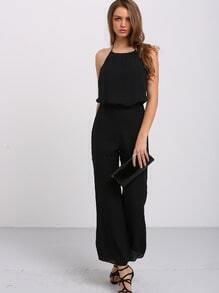 Black Halter Tie Backless Jumpsuit