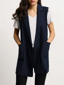Navy Pockets Trench Vest Coat