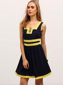 Navy Square Neck Sleeveless Color Blcok Trims Dress