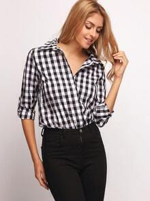 White Lapel Plaid Blouse
