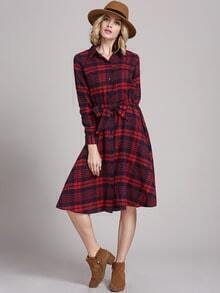 Red Long Sleeve Informal Lapel Grid Plaid Dress