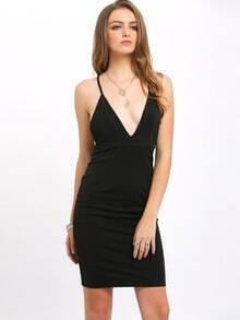 Black Deep V Neck Criss Cross Bodycon Dress