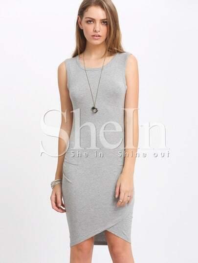 Grey Knittet Sleeveless Ruched Battenburg Wrap Front Dress