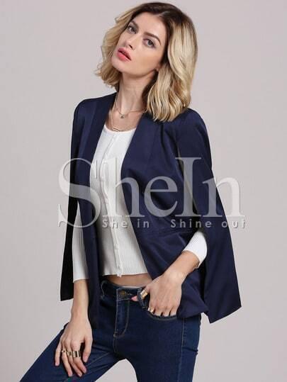 Navy Sleeveless Cape Style Blazer