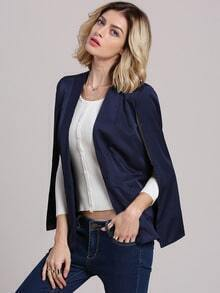 Navy Sleeveless Cape Style Blazer