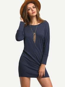 Navy Round Neck Simple Tshirt Dress