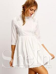White With Lace Flare Dress