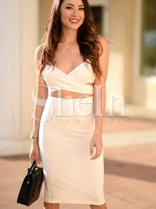 White Spaghetti Strap Cut Cut Dress