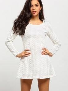 White Round Neck Long Sleeve Dress
