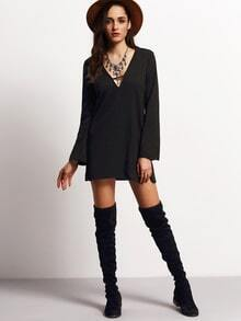 Black Deep V Neck Long Sleeve Loose Dress