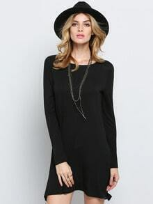 Black Long Sleeve Casual Tshirt Dress
