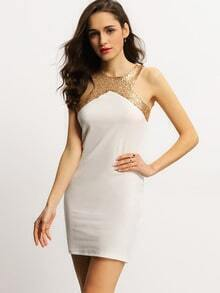 Beige Sleeveless Cut Out Back Sequined Bodycon Dress