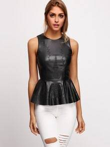 Black Sleeveless PU Leather Flounce Embroidered Blouse