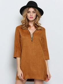Brown Bronze Suede Half Sleeve V Neck Zipper Dress