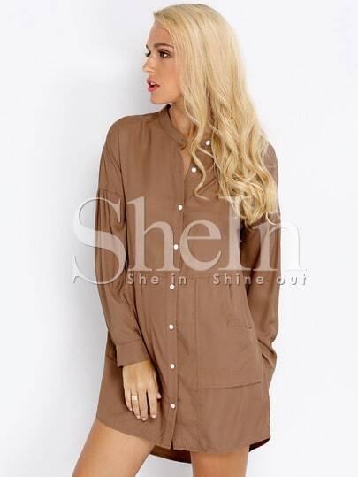 Khaki Long Sleeve Pockets Dress