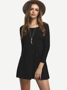 Black Long Sleeve Straight Loose Dress