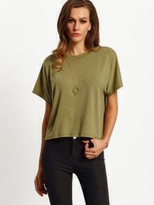 Army Green Crew Neck Wrap Open Back T-Shirt