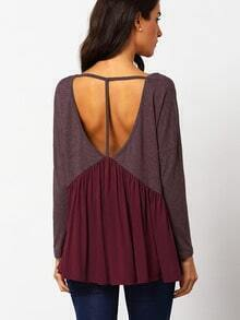 Burgundy Deep V Neck Backless Loose Blouse
