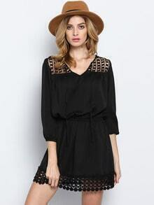 Black Long Sleeve Hollow Dress