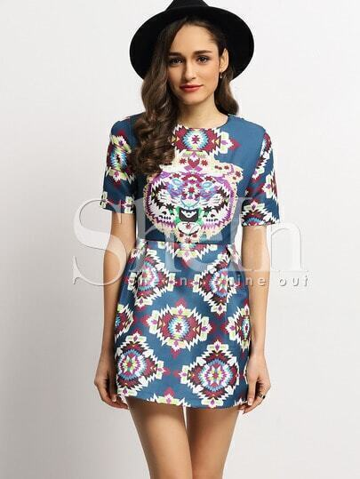 Multicolour Crew Neck Folk Print Dress