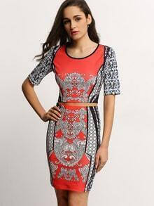 Folk Print Crew Neck Crop With Sheath Skirt