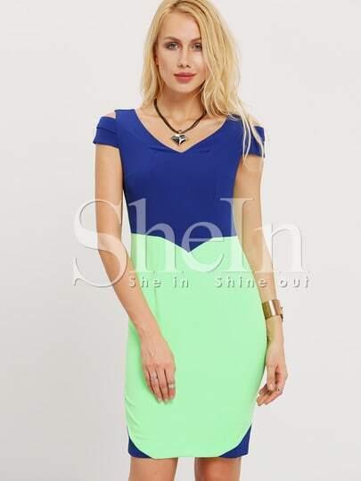 Blue Color Block Cap Sleeve Sheath Dress