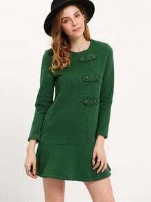 Green Long Sleeve Ruffle Dress