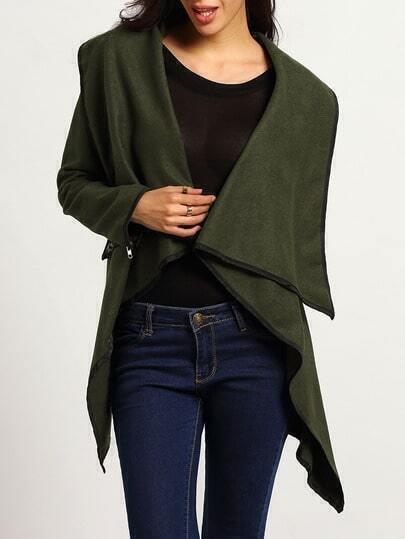 Turtleneck Zipper Asymmetrical Army Green Coat