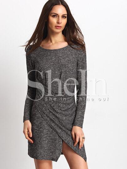 Grey Wrap Front T-shirt Dress