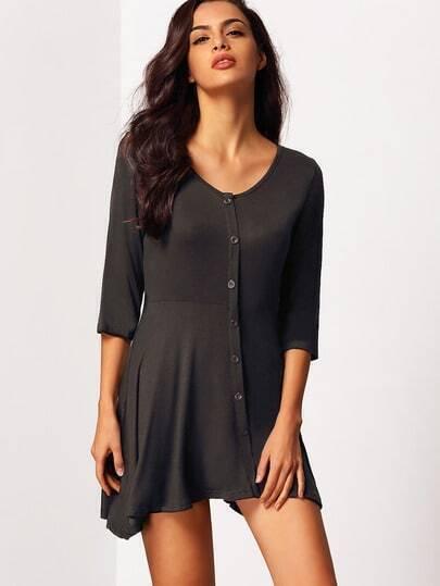 Black V Neck Elbow Sleeve Buttons Slim Dress