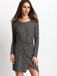 Grey Wrap Front T-shirt Dress