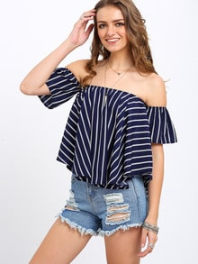 Striped Off-the-shoulder Swing Top