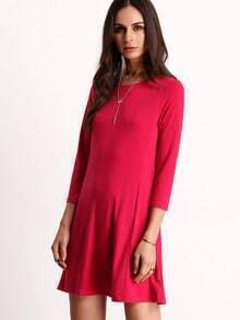 Rose Red Round Neck Casual Dress