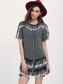 Black White Houndstooth Fringe Dress